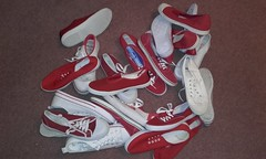 More lucky plimsolls for England World Cup Semi-Final? (eurimcoplimsoll) Tags: plimsolls plimsoles red white collection pumps gym shoes canvas trainers sneakers daps world cup england
