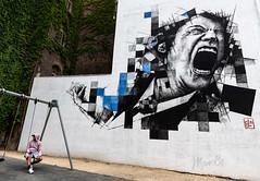 Mural (marianobs) Tags: 20mm pared urbano columpio pintura sobre perspectiva graffiti nikon bélgica arteurbano fachada