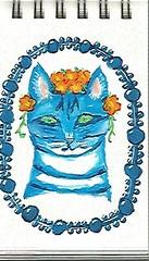 kitty flowers (terryhadalittlelamb) Tags: blue flowers cat kitty painting gouache findlay ohio oh holbien