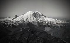 Mount Rainier in Black and White (GalaxyFan (Bighorn Photography)) Tags: volcano dormantvolcano mountain washington washingtonstate googlepixel2 cameraphone phonecamera photographerwithaohone awesomeshot blackandwhitelandscape pixel2 mtrainier mountrainier