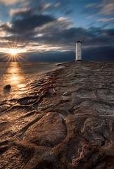 Before sunset. Baltic sea (Paweł Gałka) Tags: sunlight bright sunset star landscape landschaft sea waves stones blue water light clouds baltic stawa młyny świnoujście brown tower long exposure