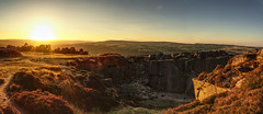 Rock Climbers over sunset at Ilkley Moor (EricMakPhotography) Tags: sun sunset yorkshire ilkley panorama sony hdr full frame gold