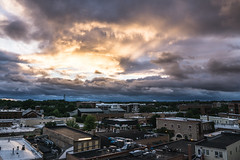 Downers Grove Sunset (tylerjacobs) Tags: sony a6000 sigma 16mm f14 sunset dusk clouds storm stormy contrast downtown city skyline cityscape downers grove illinois suburbs suburbia chicagoland chicago midwest il
