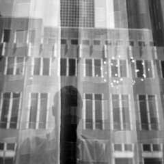 untitled (kaumpphoto) Tags: window reflection rolleiflex 120 tlr bw black white curtain building shadow selfportrait lines fold street urban city minneapolis fabric sheer downtown