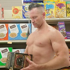 protein waffles (ddman_70) Tags: shirtless pecs abs muscle shopping grocerystore