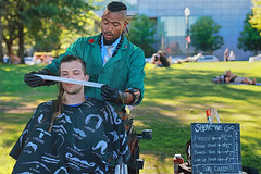 Shear We Go! (Ian Sane) Tags: ian sane images shearwego barber mobile traveling haircut customer man candid street photography governor tom mccall waterfront park portland oregon willamette river canon eos 5ds r camera ef50mm f14 usm lens