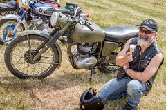Motorbike & rider (deltic17) Tags: biker motorbike army vintage classic heritage rocker icecream belvoir classicshow
