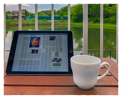 Morning Coffee (Timothy Valentine) Tags: kennebunkriver 0718 ipad 2018 newspaper vacation ourhotel kennebunkport maine unitedstates us