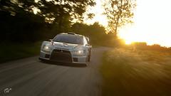 Mitsubishi Lancer Evolution (Matze H.) Tags: mitsubishi lancer evo evolution rally car gt sport gran turismo wallpaper sunset sunrise sun tree track race uhd scapes 4k