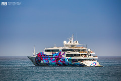 Saluzi - 69m - Austal (Raphaël Belly Photography) Tags: rb raphaël monaco raphael belly photographie photography yacht boat bateau superyacht my yachts ship ships vessel vessels sea saluzi motor mer m meters meter 69m 69 austal white blanc bianco tag graffiti colors couleurs