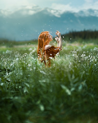 Field of Dreams (Elizabeth Gadd) Tags: field meadow flowers cotton fluffs girl woman red hair head grass tall mountains nature portrait beautiful