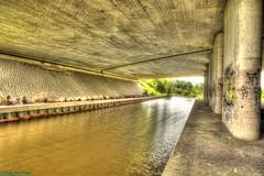 A Viaduct in Westzaan. (PhotoTJH) Tags: phototjh phototjhnl hdr middel a8 highway motorway snelweg viaduct sloot water ditch westzaan zaanstad urban street straat