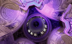 Purple Patch for the Dome (Eye of Brice Retailleau) Tags: angle beauty composition perspective scenery scenic view vanishing point backpacking wideangle architecture bâtiment indoor indoors europe france paris pantheon french colour colourful purple violet dome coupole