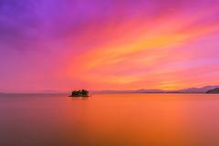 sunset 9737 (junjiaoyama) Tags: japan sunset sky light cloud weather landscape purple pink orange yellow contrast color bright lake island water nature summer reflection calm dusk serene