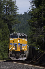 Over the river and through the woods... (Patrick Dirden) Tags: up2710 et45ah gevo ge generalelectric diesel locomotive engine rail railroad train freighttrain cargo up unionpacific unionpacificrailroad upcanyonsubdivision twainca featherrivercanyon featherriver plumascounty plumasnationalforest sierranevada northerncalifornia california