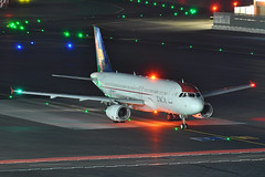 N687TA (Rich Snyder--Jetarazzi Photography) Tags: aviancacentralamerica avianca taca tai ta airbus a320 a320200 a320233 n687ta holding waiting arriving arrival sanfranciscointernationalairport sfo ksfo millbrae california ca airplane airliner aircraft jet plane jetliner ramptowera rcta atower dark night lights