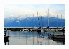 Lutry, un soir (overthemoon) Tags: switzerland suisse schweiz svizzera romandie vaud lutry mountains lake léman lakegeneva boats masts blue water quiet calm frame