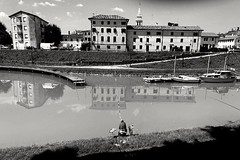 the fisherman. Patience is a virtue that only a few have (Franco-Iannello) Tags: nature river blackwhite
