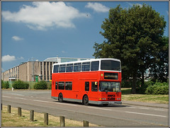 R259 LHK (Jason 87030) Tags: volvo hunters daventry olympian r259lhk red doubledecker royaloakway june 2018 322 lilbourne school contract northants northamptonshire dublin bus color colour shot sony sunny weather uk england