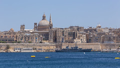 Valletta, Malta (Lee Rosenbaum) Tags: valletta building fortress basilicaofourladyofmountcarmel church tower water carmelitechurch architecture cathedral wall saintpaulsanglicanprocathedral basilica malta tassliema mt