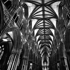 nave (khrawlings) Tags: nave lichfield staffordshire cathedral church bw blackandwhite ceiling monochrome pillars window square england