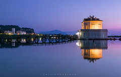 Trying to enter into a dream. (Emykla) Tags: tramonto sunset sera evening luci lights casina museum museo napoli bacoli nikon d3100 lago lake fusaro reflection riflesso water acqua purple viola blu blue
