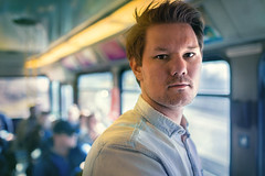 (bjornarv) Tags: oslo trikk christian portrett portrait tram light blue yellow canon 6d