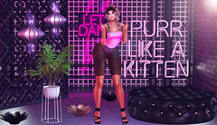 Purr like a kitten (RoxxyPink) Tags: roxxypink roxxy pink fashionuschies fashion uschies fashionblog fashionblogger blog blogger blogging blogspot secondlifeblog secondlifeblogger secondlife second life sl 2ndlife virtuallife virtualworld world virtual avatar ava avi style styling mesh meshhead head catwa catya meshhair hair meshclothes clothes gaia meshheels heels kc clothing sexy blond blonde sintiklia event fair focusposes poses pose poser posing vintage vintagefair krescendo kres p plastik blush kinky neonsign sign neon kitten 80s refuge deco decoration girl cute lantern