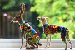 blooming hare and hound (adore62) Tags: needlefelted feltedfido felted needlefelteddog hare embroideredfeltedhare embroidered