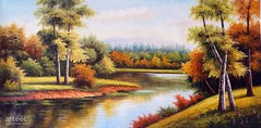 Autumn At The Lake, Art Painting / Oil Painting For Sale - Arteet™ (arteetgallery) Tags: arteet oil paintings canvas art artwork fine arts landscape sky tree water summer river clouds travel scenery lake forest season scenic outdoors sunny reflection cloud scene outdoor grass trees sun natural spring mountain tranquil tourism horizon rural environment countryside day autumn idyllic calm sunlight color plant landscapes lakes rivers pastorals orange lime paint