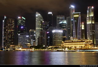 Skyline seen from the Waterfront Promenade at Night, Singapore