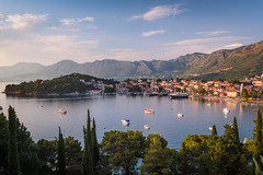 cavtat_1 (A & A McKee) Tags: nikon d500 sigma 1835 18 art croatia hvartska dubrovnik cavtat adriatic sea town old sunny summer boat yacht hills mountain landscape wide gold sunset sky bay trees mediterranean