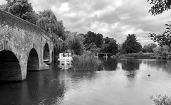 Sonning bridge over the River Thames (baldychops) Tags: tree trees river thames riverthames sky cloud water boat bridge sonningbridge sonning sonningonthames mono monochrome bw blackwhite blackandwhite iphone iphone8 iphone8plus berkshire countryside country