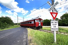 Do not stop on tracks (Laurence's Pictures) Tags: east troy electric railroad museum wisconsin train trolley interuban milwaukee light we energy railfan days chicago south shore bend csssb