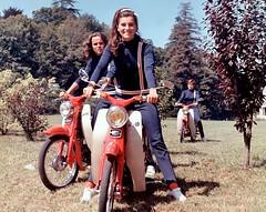 Sheila & co.  on Honda C100s (Lawrence Peregrine-Trousers) Tags: honda c100 super cub chanteuse pop singer french adventures sheila bangbang 1960s 1967 cinema film ffffffffff motorcycle scooter moped annie chansel fashion suit chancel 1966 girls women ladies 50 50cc