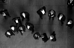 Men's business (debeeldenplukker) Tags: men business birdseyeview mensbusiness blackandwhite monochrome zwartwit