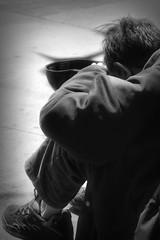 Size 7 1/4 / Taille de chapeau 7 1/4 po. (H - - J) Tags: man streetperson begging sidewalk outdoors blackandwhite monochrome monotone noiretblanc cap coat symbol symbolic psychological