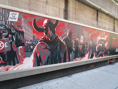 The First Purge Movie Poster Art 35th St 8th Ave NYC 5018 (Brechtbug) Tags: the first purge posters billboard horror film prequel standee billboards movie poster art rioting masked protesters mayhem 36th street near 8th ave amc theatre new york city 07072018 nyc 2018 graffiti looking arts mural subway entrance mask costume costumed post apocalyptic political satire politics violence violent humor riot riots gang mob hunting people down hunt version most dangerous game battle royal crime criminals terror terrorists terrorist