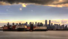 City LE (beelzebub2011) Tags: canada britishcolumbia vancouver 10stopnd longexposure daytimelongexposure burrardinlet barges cityscape