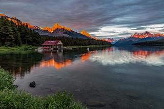 Maligne Lake Boathouse Sunset