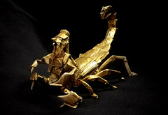 ORIGAMI SCORPIO! (Neelesh K) Tags: origami scorpio scorpion king human hybrid boxpleating 48 grids tracing paper folding zodiac signs neelesh k