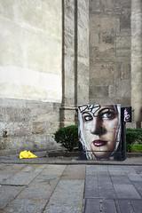 Jun 17, 2018 (pavelkhurlapov) Tags: bottle graffiti girl face eyes blonde makeup temple walkway cityscape garbage