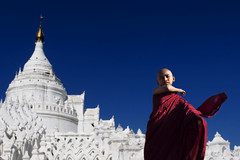 Mingalaba Myanmar | Monk & White Temple (kOHN_sIAH) Tags: myanmar monk travel people temple
