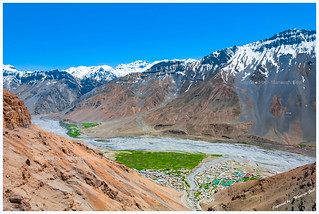 View of Kaza city and Spiti valley from Hikkim
