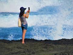 Big splash (thomasgorman1) Tags: splash crash wave waves selfie photography woman cellphone camera photographer hawaii island scenic landscape shore lavarock rocks punuluu