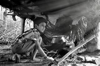 Indian Village Boy's Kitchen Preparation