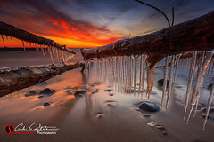 Fire & Ice (andrewslaterphoto) Tags: andrewslaterphotography boulder cold cudahy greatlakes ice lakemichigan milwaukee nature outdoors rock sheridan trees water wisconsin unitedstates us canon melt fire fiery sunrise morning clouds awake landscape mke