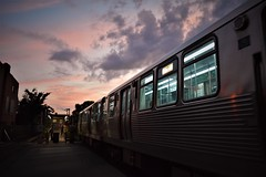 Into the sunset (marensr) Tags: sky clouds train dusk sunset violet hour blue cta chicago city movement urban