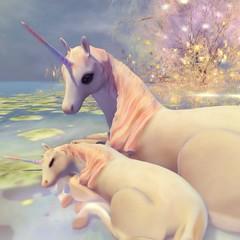 Mother's Love (Beatrice.Cerise is ZenSpark) Tags: unicorn mom baby art sl secondlife virtual