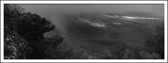 sunset rain (Andrew C Wallace) Tags: thebalconies gariwerd grampiansnationalpark victoria australia panorama 3frames stitched ir infrared microfourthirds m43 thephotontrap olympusomdem5 rain storm sunset bw blackandwhite
